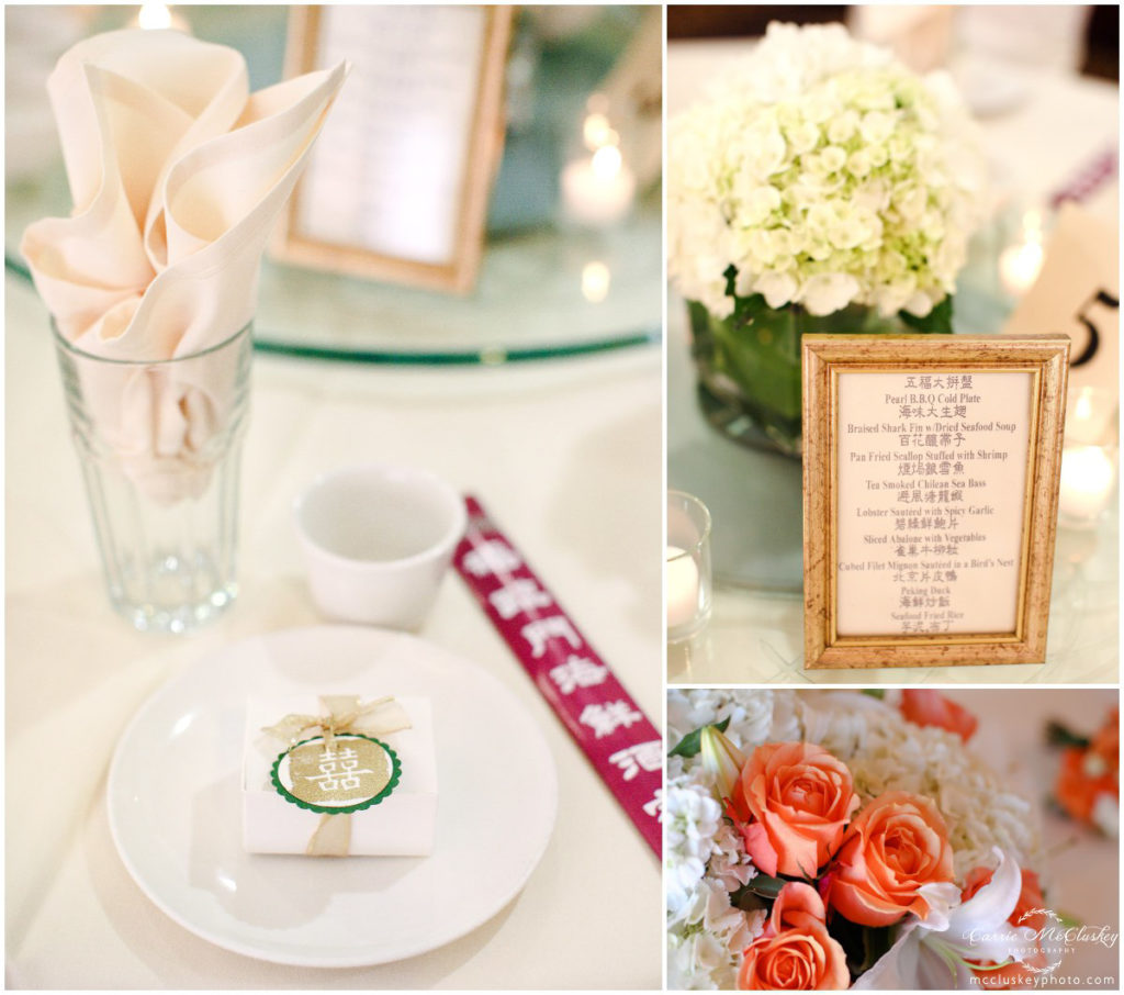 Reception details at the Pearl restaurant in Rancho Bernardo, CA.